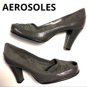 What's What Aerosoles grey peep toe pumps heels 7